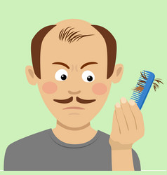 Hair loss concept man with brush loosing hair vector