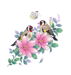 Hand drawn goldfinches sitting on pink flower vector