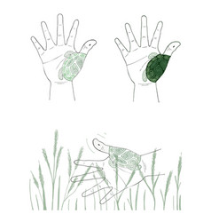 Hand gesture with turtle painting on white backgro vector