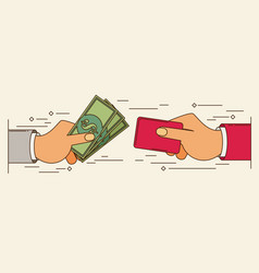 Hands holding credit card and money bills flat vector