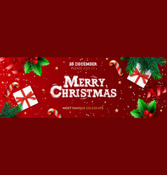 happy new year banner xmas st with gifts box vector image