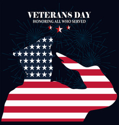 Happy veterans day silhouette soldier saluting vector