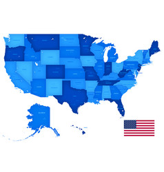 high detail usa blue shaded map vector image