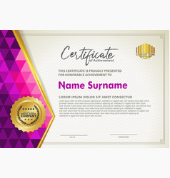 horizontal certificate template with triangle vector image