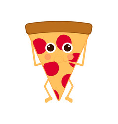 isolated slice of pizza emote with hands on mouth vector image