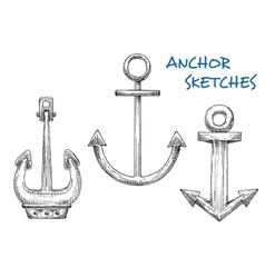 Isolated vintage marine anchors in sketch style vector