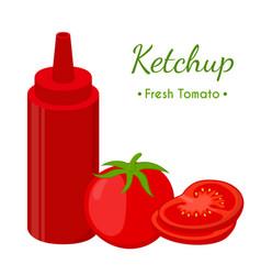 Ketchup sauce bottle cartoon flat style vector