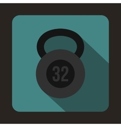 Kettlebell 32 kg icon flat style vector