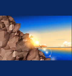 landscape rock mountain at beach in mor vector image