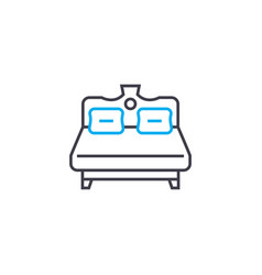 large bed linear icon concept large bed line vector image