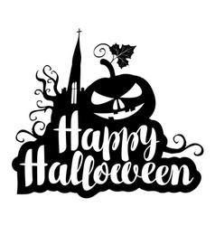 Lettering happy halloween with a horrible pumpkin vector