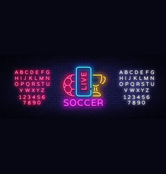 live soccer neon sign live football logo vector image