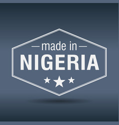 made in nigeria hexagonal white vintage label vector image