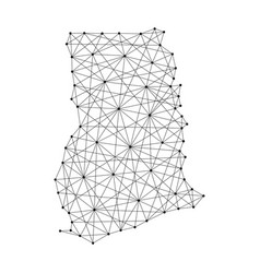 map of ghana from polygonal black lines and dots vector image