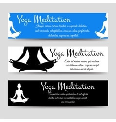 meditation men yoga horizontal banners set vector image