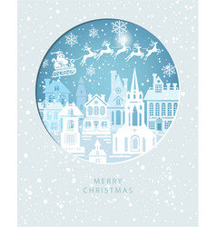 merry christmas card with santa claus on the sky vector image