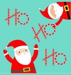 merry christmas santa claus set holding ho ho ho vector image
