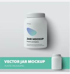 Mockup white jar with screw cap isolated on vector