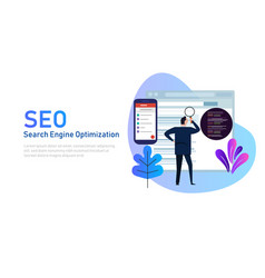 Modern flat design concept of seo search engine vector