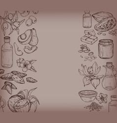 monochrome background with food and vector image