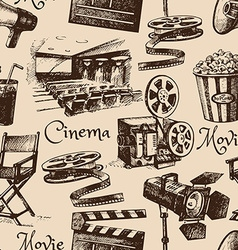 Movie film cinema seamless pattern Hand drawn vector