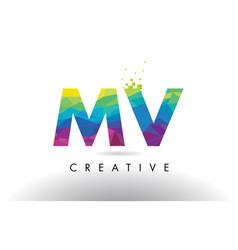 mv m v colorful letter origami triangles design vector image