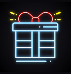 neon gift box with ribbon sign prize present vector image