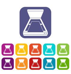 Open scanner icons set vector