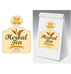 Paper packaging with label for herbal tea vector