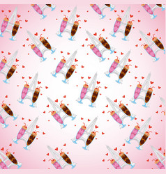 pattern chocolate ice cream strawberry shakes with vector image