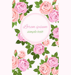pink and beige roses floral decor vector image