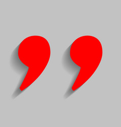 quote sign red icon with vector image