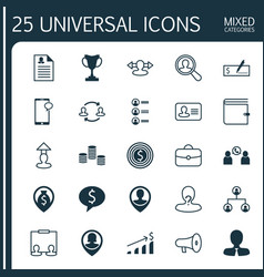 Resources icons set collection of wallet team vector