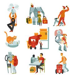 robots androids set vector image