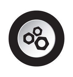 round black and white button - three nuts icon vector image