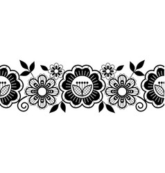 Seamless lace vertical long pattern set black vector