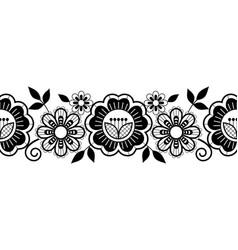 Seamless lace vertical long pattern set black vector
