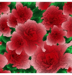 Seamless ornament with red flowers vector image