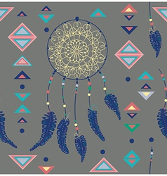 Seamless pattern of color American Indians vector image