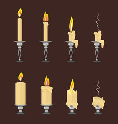 Set of flat burning candles isolated on vector