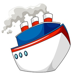 Ship with steam on white vector