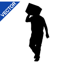 Silhouette of deliveryman carrying a box vector