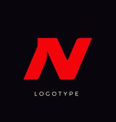 Speed letter n red race monogram logo italic vector