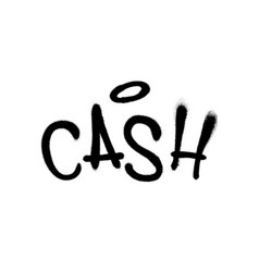 Sprayed cash font graffiti with overspray in black vector