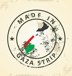Stamp with map flag of Gaza Strip vector image