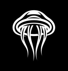 stylish marine jellyfish on black background vector image