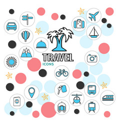 summer vacation line icons collection vector image