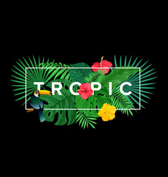 template for tropical print vector image