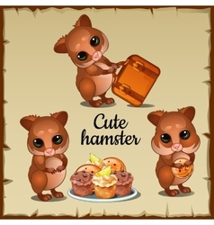 Three cute funny hamster and tasty food vector image