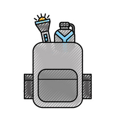 Travel safari backpack with flashlight and bottle vector